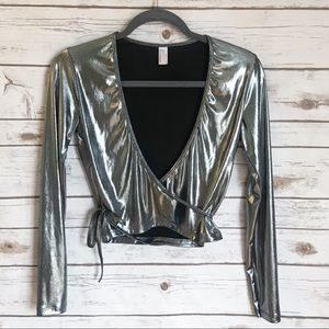 American apparel holographic cropped wrap top!